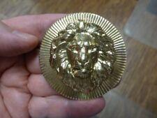 (B-lion-352) 3-D LION HEAD king wild cat big lions on circle brass pin pendant