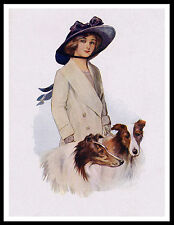 ROUGH COLLIE PRETTY LADY AND HER DOGS GREAT VINTAGE STYLE DOG ART PRINT POSTER