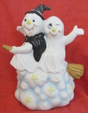 Vintage Halloween Ghosts Witch Figurine Clouds Bisque Porcelain PR Taiwan