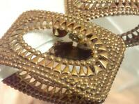Vintage 1950's Ornate Brass Tone Large Rectangle Repousse Shoe Clips 815d9