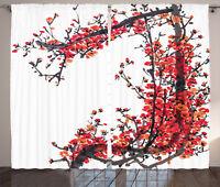 Japanese Decor Curtains Blossom Sakura Window Drapes 2 Panel Set 108x90 Inches