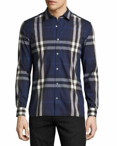 NEW W/ TAGS MENS BURBERRY CHECK BUTTONED SHIRT  NAVY CHECK L SLIM $498