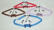 Faux Leather & Gemstone Choker w/Bowtie Pendants And Earrings ~ 4 Sets/4 Colors