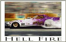 "Drag Racing Art Print of  Hell Fire ..13"" x 19"""