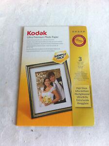 "KODAK ULTRA PREMIUM PHOTO PAPER 1 Pack of 3 SHEETS - HIGH GLOSS 4"" x 6"""