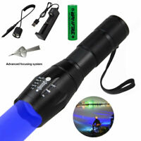 A100 Outdoor Hunting Flashlight LED Torch Blue Light Fishing Hiking Camping Lamp