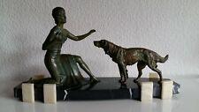 Antike, sehr große, schöne Bronzeskulptur - Figur - Frau mit Hund - Jugendstil