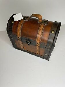 Trunk Box Wood Small Leather and Brass toned Accents Vintage-Like Antique