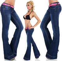 Women's Ladies Hipster Boot cut Flared Jeans Dark Blue Sizes UK 6 8 10 12 14