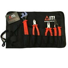 4pce Tool Kit in Tool Roll - Pliers and Wrench Kit, Insulated Tools