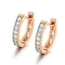 HUCHE Silver & Gold Filled Slim Huggies Diamond Crystal Ladies Wedding Earrings
