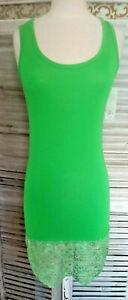 Hello Moda Shirtkleid Apfelgrün Spitze Stretch Viskose Sommer SPitze