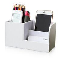 Leather Office Desk Organizer Multi-functional Stationery Box Holder White