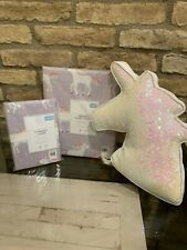 Pottery Barn Kids Lavender Unicorn Rainbow Twin Duvet Sham Unicorn Pillow Set