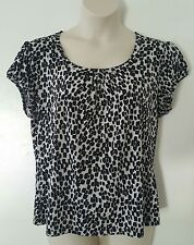 Worthington Stretch Black Beige White Geometric Short Sleeve Top Plus Size 1X