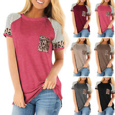 Women Leopard Short Sleeve Pockets T Shirt Casual Blouse Tunic Tops Plus Size