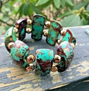Stretch Bracelet Plastic Turquoise Gold Bronze With Gold Beads