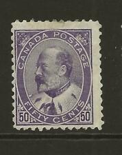 Canada 1903 SG187 EDVII 50c Deep Violet MINT Fresh Face Cat £500 Slight Fault
