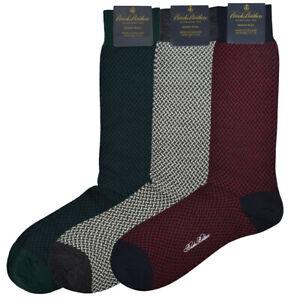 Brooks Brothers Mens 3 Pack Herringbone Green Red Merino Wool Socks 7-12 8405-5