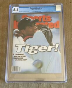 TIGER WOODS 1996 Sports Illustrated CGC 8.5 ROOKIE RC NEWSSTAND NO LABEL MINT
