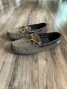 LL Bean Hand Sewn Brown Leather Flannel Lined Moccasin Slippers Men's Size 9