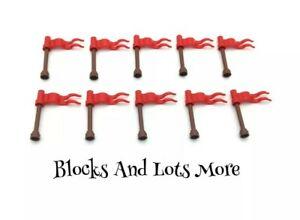NEW LEGO 10 x Red Wave Flags Part 4495b On Detachable Brown Poles Castle Pieces