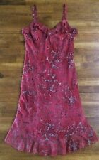 Dressbarn Women's Spagetti Strap Lined Midi Dress Size 6 Red Paisley EUC