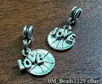 2PC LOVE & Basketball Double Pendant European Dangle Beads Charms