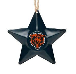 Chicago Bears Christmas Tree Holiday Ornament New - Team Logo Metal 3D Star