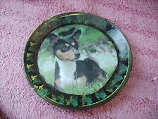 BASENJI    TRI    ON A DECOUPAGE  PLATE