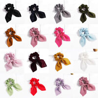 Women Satin Rabbit Ear Hair Scrunchies Big Bow Ponytail Hair Rope Accessories G#