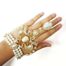 Gold Tone And Cream Pearl Ring Attached to Adjustable Bracelet