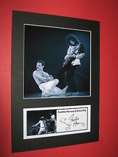 QUEEN FREDDIE MERCURY BRIAN MAY A4 PHOTO MOUNT SIGNED PRE-PRINTED TICKET CD