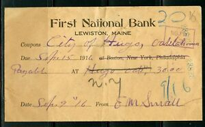 US FIRST NATIONAL BANK OF LEWISTON MAINE CANCELLED CHECK 9/15/1914 AS SHOWN