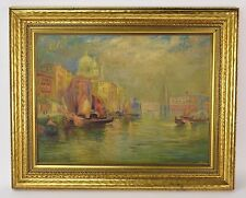 1930's Venice Oil Painting Santa Maria della Salute Domes on Grand Canal