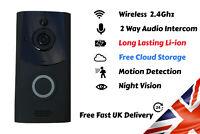 2 Way Audio Wireless Wi-Fi Smart Door Bell Security Camera Intercom Free Cloud