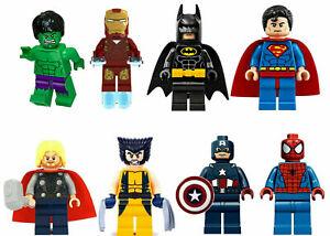 8PCS MARVEL AVENGER SUPER HEROES FIT LEGO MINI FIGURE THOR HULK BATMAN SUPERMAN