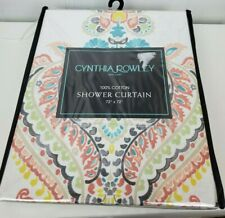 Cynthia Rowley Shower Curtain 100% Cotton Colorful Print Floral