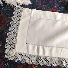 Antique Victorian Bobbin Lace Shelf Runner White Linen Vintage