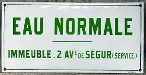Old green French enamel building sign plaque water supply Paris condo apartments