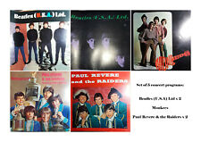 (5) 1964-1966 Concert Programs Beatles, Paul Revere and the Raiders, and Monkees