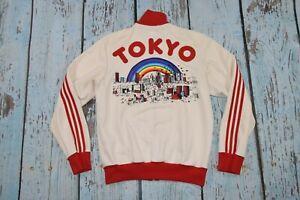 Men's Super Rare Adidas Originals Tokyo Firebird Track Jacket White Red  size S