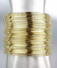 CHIC & STYLISH 50 PCS Thin Individual Stacked Gold Metal Bangles Bracelet Set