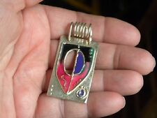 """EYECATCHING STERLING SILVER & ENAMEL CONTEMPORARY HAND WROUGHT PENDANT 2"""" LONG"""