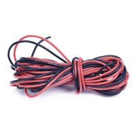 2x 3M 26 Gauge AWG Silicone Rubber Wire Cable Red Black Flexible G5Q8