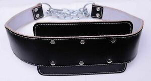Bodybuilding Dipping Leather Black Belt Back Support GYM Training & Fitness.
