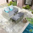 Yitahome 4pcs Wicker Rattan Patio Furniture Outdoor Sofa Garden Conversation Set