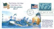 USS OKLAHOMA BB-37 Battleship Pearl Harbor,1941 Battle Painting Cachet First Day