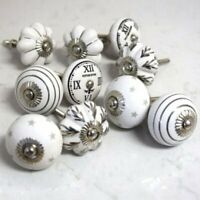 Lot of 10 Cream & White ceramic door knobs kitchen knob drawer cabinet pulls