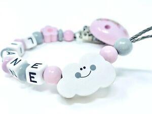 ★ Schnullerkette mit Namen ★ Mädchen ★ Wolke ★ rosa ★ grau ★ Personalisiert ★